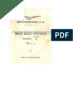 Guzzi Hispania 98 Cc Mod.Z Libro de Instrucciones 9996