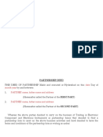Format of Partnership Deed