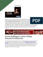 Bonus Rollingan Casino Paling Banyak Di Indonesia