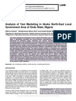 Analysis of Yam Marketing in Akoko North-East Local Government Area of Ondo State, Nigeria