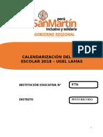CALENDARIZACIÓN 2018 0756