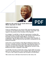 Thabo Mbeki's Resignation Speech 2008