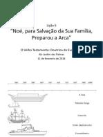 Lição 6 - Noé, Para Salvação Da Sua Família, Preparou a Arca