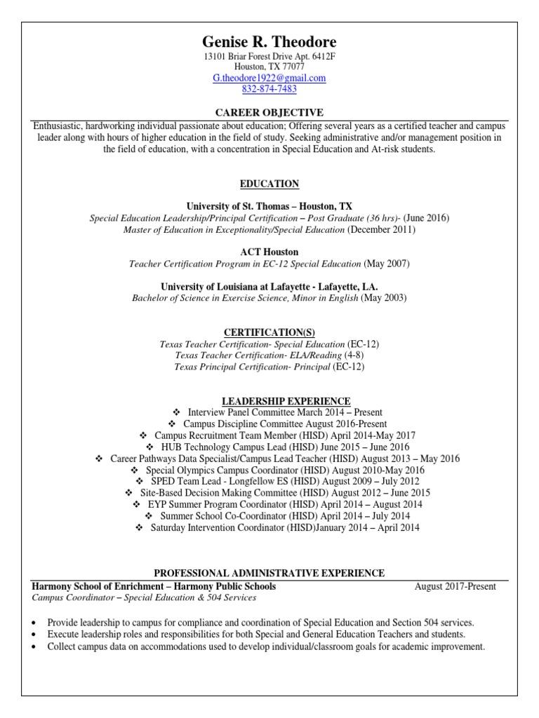 Genise Resume Upd4 Individualized Education Program Special