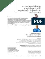 O Subimperialismo, Etapa Superior Do Capitalismo Dependente