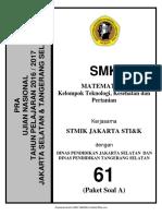 Soal Pra UNBK Matematika SMK TKP P 2018