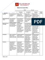 Rubric for Lesson Plan 1