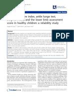 El índice de postura del pie, prueba de estocada del tobillo La escala de Beighton y la evaluación de las extremidades inferiores puntaje en niños sanos