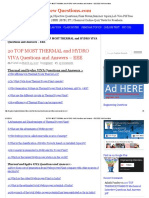 20 Top Most Thermal and Hydro Viva Questions and Answers - Eee Eee Viva Questions