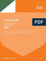 CIE IGCSE Mathematics Syllabus