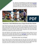 Manchester United Dikabarkan Incar Empat Pemain Real Madrid