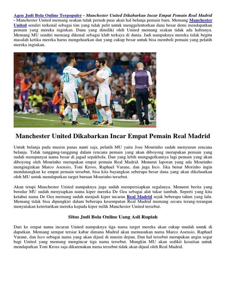 Manchester United Dikabarkan Incar Empat Pemain Real