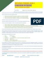 ReinscripcionesPeriodo 2018-2 PrimeraEtapa
