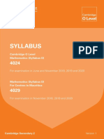 CIE O Level Mathematics Syllabus