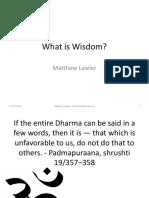 Talk - What is Wisdom