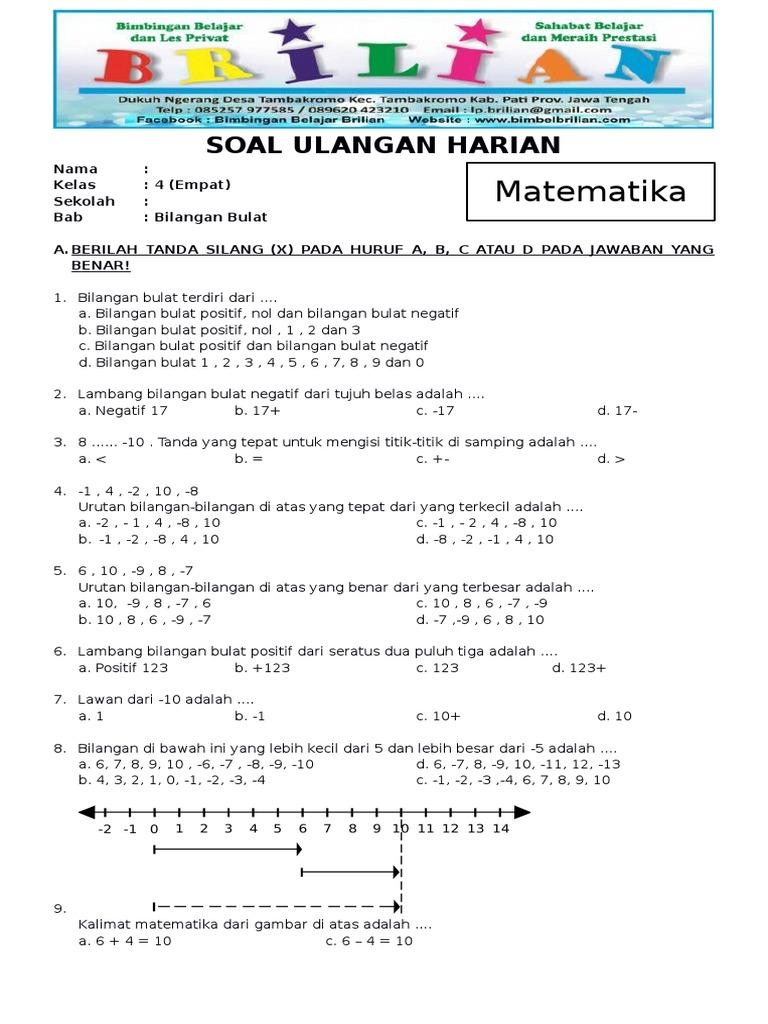 Soal Matematika Kelas 4 SD Bab 7 Bilangan Bulat Dan Kunci ...