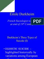 Durkheim on Suicide
