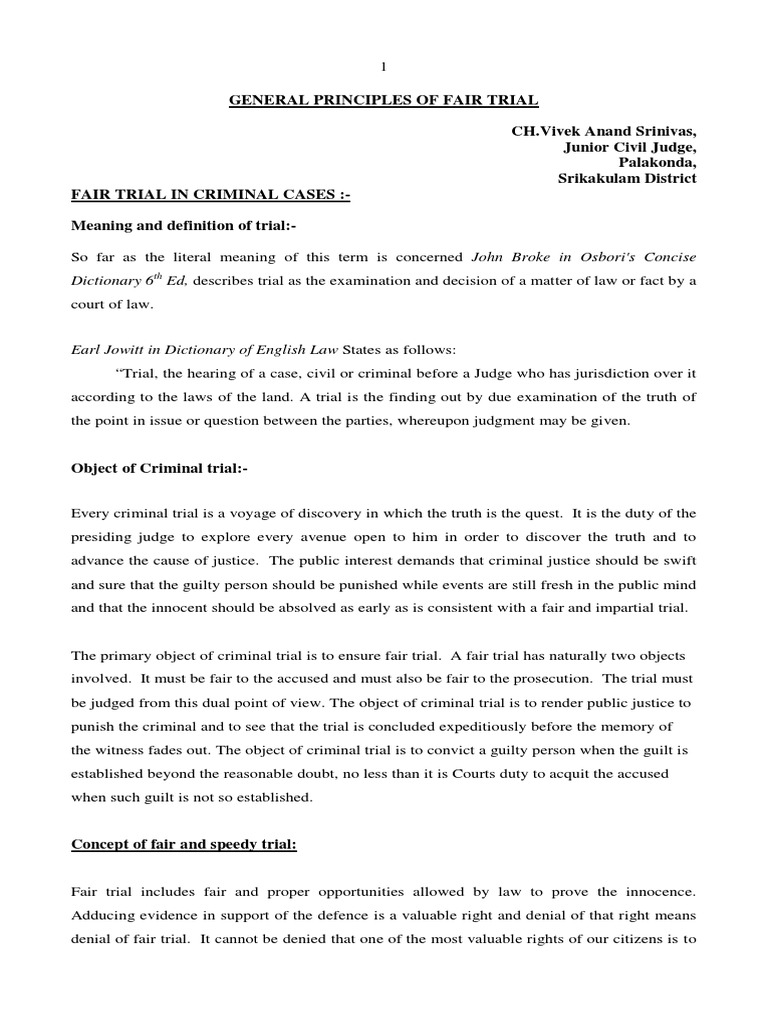 General Principles of Fair Trial Ch Vivek Anand | Right To A