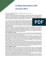 Mensaje Del Papa Benedicto XVI Para La Cuaresma 2010