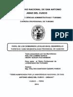 Tesis Unsaac Papel Del Los Gobiernos Locales en El Desarrollo Turistico de La Provincia de Canchis