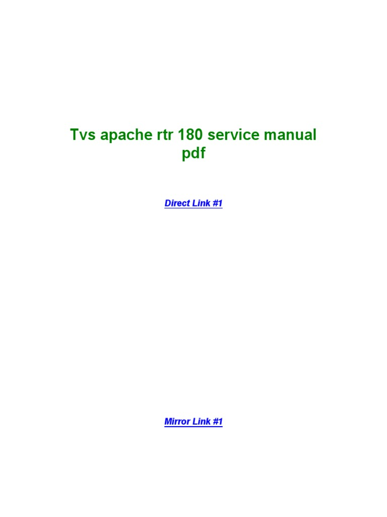 Tvs Apache Rtr 180 Service Manual PDF | Registro de Windows