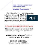 HORARIOS CURSO 2010/2011