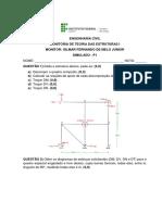 Simulado P1 - Teoria Das Estruturas I