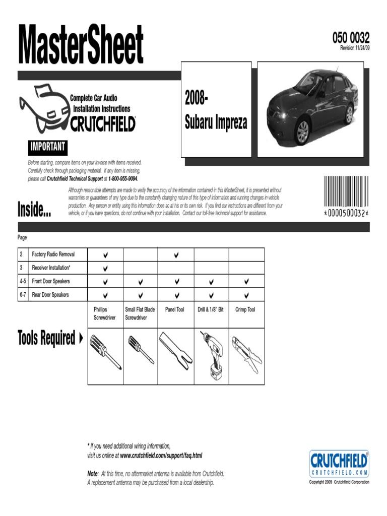 Crutchfield Wiring Harness Subaru Brz Great Installation Of 2009 Engine Library Rh 32 Budoshop4you De Connectors