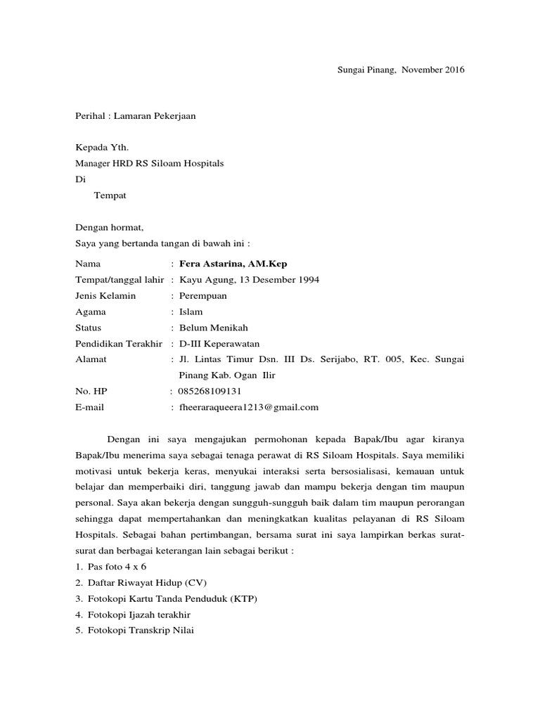Surat Lamaran Pekerjaan Rs Siloam Hospitals