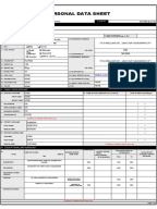 Pds Cs Form 212 Revised 2005 Personal Data Sheet Civil