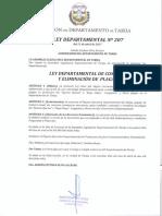 Ley Departamental Nº 207 de Control y Eliminación de Plagas