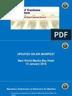 Updates on Air Manifest Implementation 2018