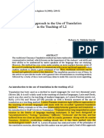 A New Approach to the Use of Translation in the Teaching of L2