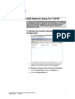 Network Settings Using Windows 2003