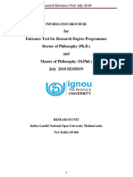 IGNOU Phd Information Brochure