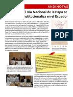 Celebración del Día Nacional de la Papa en Ecuador  (Agosto 2010)