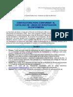 CONVOCATORIA PARA CONFORMAR EL CATÁLOGO DE LÍNEAS DE INVESTIGACIÓN EN ENFERMERÍA México