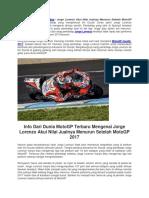 Jorge Lorenzo Akui Nilai Jualnya Menurun Setelah MotoGP 2017.