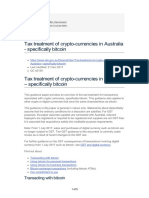 Tax Treatment of Crypto-currencies in Australia - Specifically Bitcoin