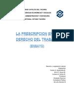 La Prescripción y El Derecho Del Trabajo