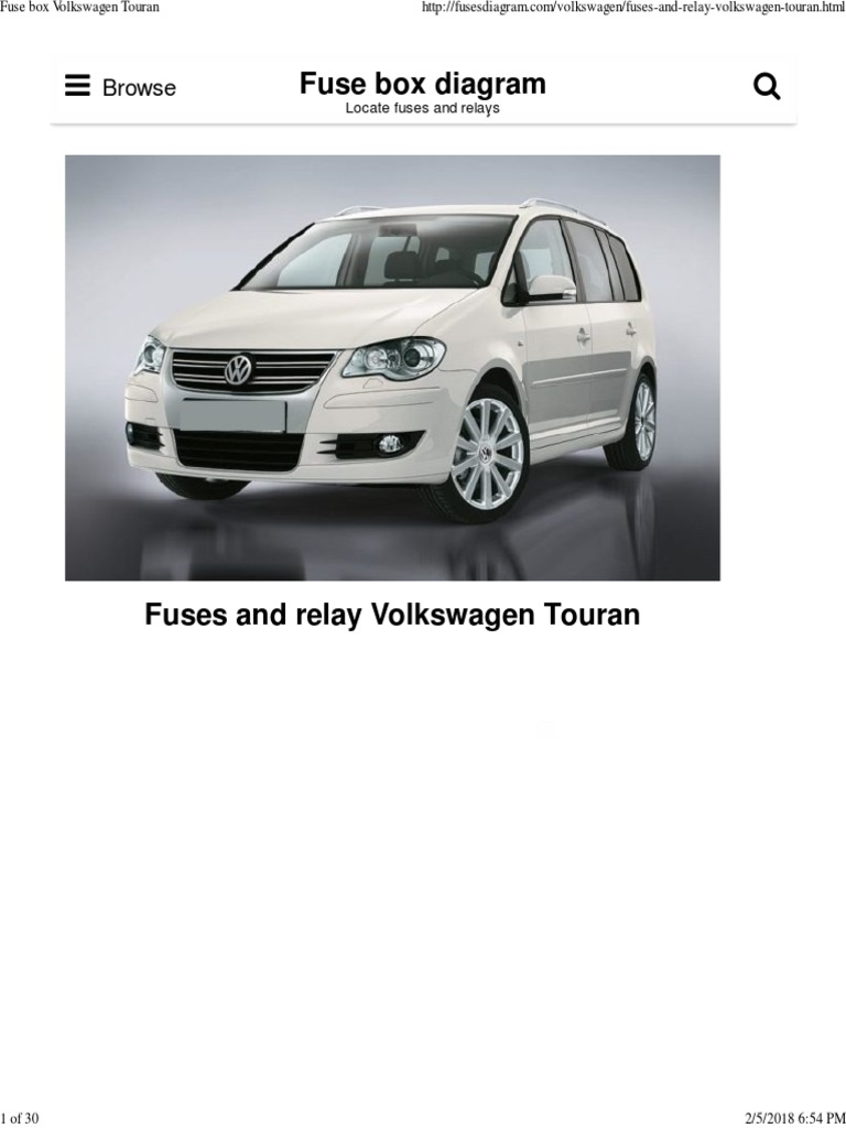 Fuse Box Volkswagen Touran Anti Lock Braking System Relay Skoda Rapid