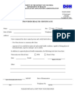 Provider Health Certificate