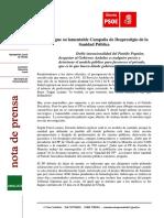 Comunicado Respuesta a las declaraciones sobre Sanidad del PP