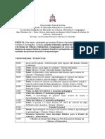 Cronograma disciplina Espaços Não Formais de ensino