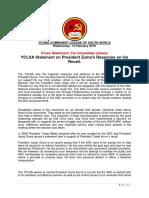 YCLSA statement on Zuma's response on his recall