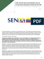 Finanzasdigital.com-Gaceta Oficial N 41242 Seniat Fija Formalidades Para La Rebaja Del 3 ó 5 de La Alícuota Impositiva Ge