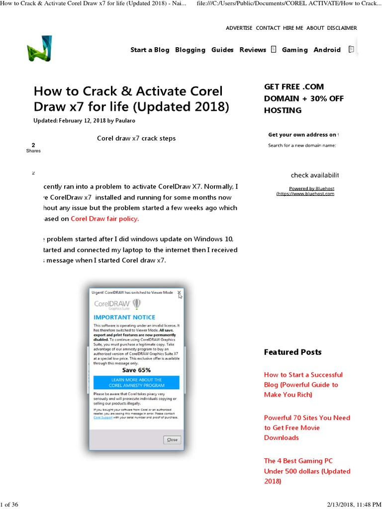 How To Crack Activate Corel Draw X7 For Life Updated 2018