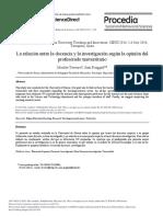 La Relaci n Entre La Docencia y La Investigaci n 2015 Procedia Social And
