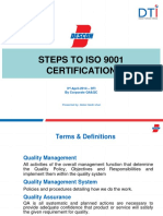 Steps to ISO Certification