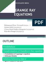 Lagrange Ray Equations ( Awal - 9.5)
